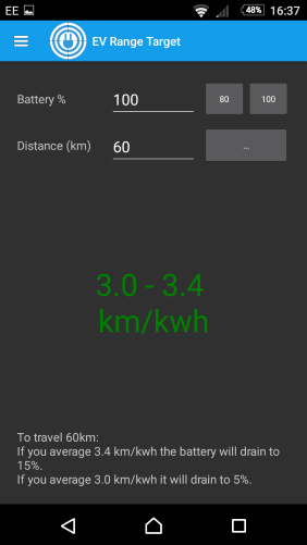 Screenshot of Ev Range Target android app